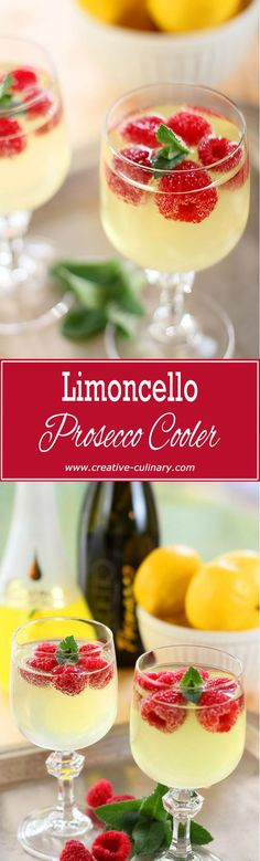 This Raspberry, Limoncello and Prosecco Cooler is a simple and lovely cocktail featuring Limoncello and Italian sparkling wine. via @creativculinary