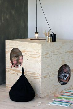 Simple plywood furniture. Great idea to bring the fun indoors.