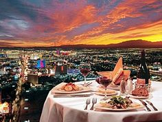 Las Vegas view from the Top of the World restaurant at the Stratosphere Hotel