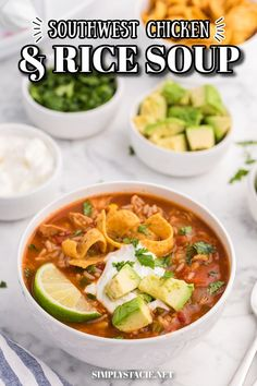 Southwest Chicken & Rice Soup - Hearty and satisfying comfort food made with pantry staples in your Crockpot! It has big flavor and is loaded with tender chicken, rice, veggies and southwest spices.