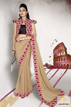 New arrival launch beige black simmer saree with koti style blouse. A trendiest designer formal wear saree made with fancy lace border and simmer art silk and georgette fabrics. #saree, #onlinesareeshopping, #discountoffer, #fancysaree, #lowestpricesaree,  #festivalwearsaree, #sareeonline,  #newsarees, #fashionsarees,  #fancysaree, #Indiansaree, #sareewithblouse, #casualsaree,   More: http://www.pavitraa.in/catalogs/different-style-fancy-indian-sarees-online/ Call Us:+91-7698234040