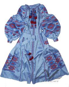 Blue denim dress, with embroidery blue, burgundy. boho style,Ukrainian vyshyvanka. kaftan,Boho embroidery,abaya, summer dress / 100% LINEN
