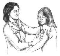 Drawing of a female health care provider giving a hepatitis B vaccination shot in the upper left arm of a female patient. Here are the basics of what you need to know about Hepatitis B, from how it is contracted to how it is treated. Bloodborne Pathogens, Hepatitis B, Health Care, Arm, Training, Babies, Female, Drawings, Link