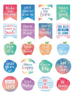,Make your notes and plans stand out by adding colorful planner stickers. These cheerful stickers will help you mark a deadline, remember a special day. Classroom Quotes, Classroom Posters, Classroom Themes, Journal Stickers, Printable Planner Stickers, Teacher Stickers, Free Printables, Lesson Planner, Teacher Created Resources