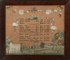 Eliza Wells, Wethersfield, Connecticut, circa, 1815.This beautiful sampler commemorates generations of births within the Wells family.Provenance: Mary Jaene Edmonds