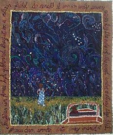 """""""Starry Night"""" hand hooked by Deanne Fitzpatrick"""