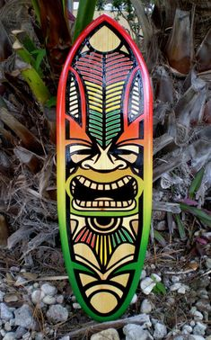 Kane Rasta Tiki Inlay 2 Foot Solid Wood Surfboard Wall by decosurf, $69.00