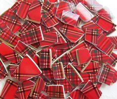 Bright & Cheery Red Tartan Plaid - Mosaic China Tiles