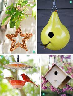 vier tolle Ideen für Vogelhäuschen, Nistkasten und schöne Dekoration für Ihren Garten oder Balkon zugleich