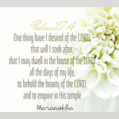 Psalms 27:4 (KJV)  One thing have I desired of the LORD, that will I seek after; that I may dwell in the house of the LORD all the days of my life, to behold the beauty of the LORD, and to enquire in his temple.  #MARANATHA