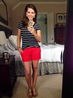 Go bold on the bottom with bright shorts and a basic striped tee. Try sneakers for a day of errands!