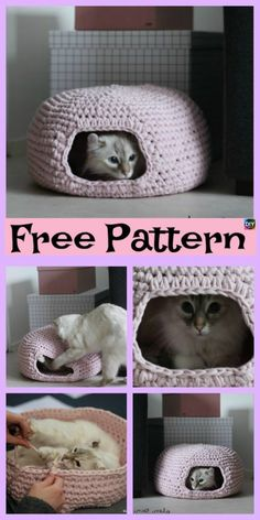 10 Awesome Crochet Cat Bed - Free Patterns