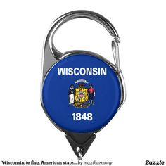 Wisconsinite flag, American state flag Badge Holder