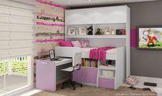 Quarto Juvenil Completo com Ponte Modulada, Cama Multifunção com Escrivaninha e Cadeira Branco/Lilás - Caaza | Lojas KD