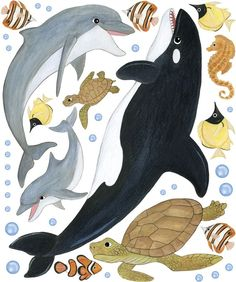 Ocean Animal Wall Decals Sea Creature Wall by WallAboutFun, $120.00