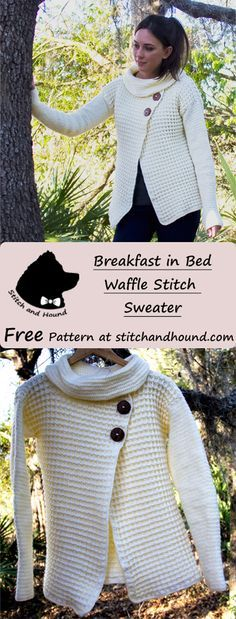 Waffle stitch sweater     spring made using  2 skeins Lion Brand Bundle of Love