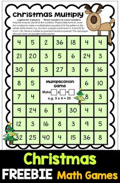 FREE Christmas Math Games - 4 Printable games for addition, subtraction, multiplication and division. Great for math centers #christmasmath #mathgames #math #mathfreebies