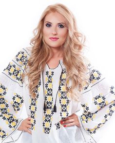 This fabulous traditional long-sleeved Romanian blouse is embroidered with yellow and black thread on organic cotton fabric and embellished with hand made embroidery Black Thread, Sheer Fabrics, Organic Cotton, Floral Tops, Cotton Fabric, Kimono Top, Costume, Traditional, Boho