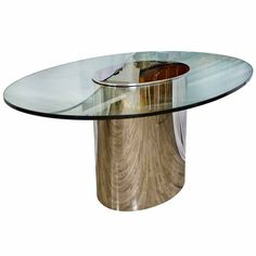 60 Pace Leon Rosen Oval Chrome Glass Dining Table Lot