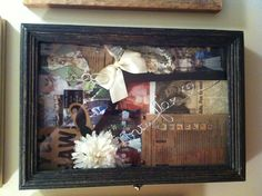 My potterybarn wedding shadow box! :) Shadow Box Memory, Fall Wedding, Wedding Ideas, Wedding Memorial, Assemblage Art, Jewelry Storage, Reading Room, Married Life, Home Decor Inspiration