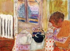 Cup of Tea by the Radiator Pierre Bonnard 1932 Musee Bonnard - Cannes (France) Painting - watercolor Height: 24 cm (9.45 in.), Width: 33 cm (12.99 in.)