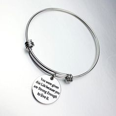 ULAKY Women Girl Inspirational Bracelet Expandable Bangle You were given this life because you are strong enough to live: Home & Kitchen Bangle Bracelets, Bangles, You Are Strong, Engagement Gifts, Jewelry Branding, Valentine Day Gifts, Best Gifts, Pendant, Silver