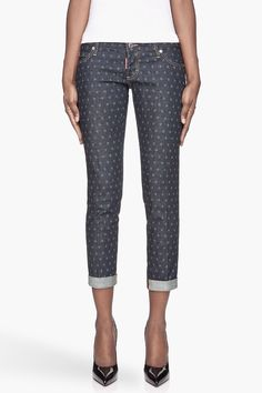DSQUARED2 // NAVY BLUE POLKA DOT PAT JEANS.... you can get these same pants at target in the merona woman's section for half the price