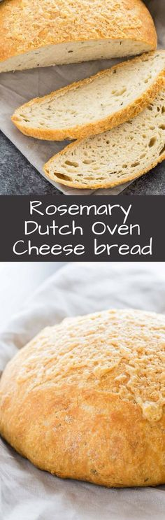 Nothing is better than flavorful Rosemary Cheese Bread baked in a Dutch oven. This simple no-knead recipe requires very little effort. #ad @RedStarYeast #redstaryeast: