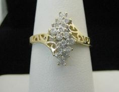 Gold Diamond Ring, .25CT Total, in Solid 10K Yellow Gold, 100% Genuine