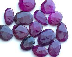 Amethyst Rose Cut Purple Flat Back Cabochons Rose by gemsforjewels