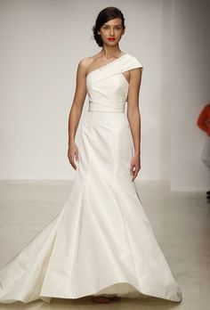 """Brides.com: Amsale - Spring 2013. """"Harbor"""" silk mermaid wedding dress a one-shoulder strap and exaggerated bow in back, Amsale  See more Amsale wedding dresses in our gallery."""