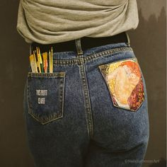 Gustav Klimt Hand painted custom pocket jeans women Customized high waisted mom fitted denim leather jeans for woman Handpainted clothes Gustav Klimt painted jeans Painted mom jeans Hand painted jeans Custom jeans Pocket painted. Gustav Klimt, Klimt Art, Ripped Jeggings, Ripped Knee Jeans, Verschönerte Jeans, Painted Jeans, Painted Clothes, Hand Painted, Custom Clothes