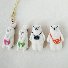 Cute Needle felted project wool animals bunnies(Via @chikuchikuya)