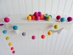 Garland, Rainbow Garland, Nursery Decor, Baby Shower Decor, Pom Pom, Felt Ball Garland, Christmas Decor, Multicolored Banner, Playroom Decor...