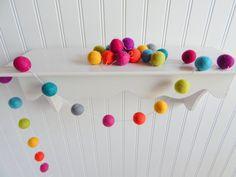 Garland, Rainbow Garland, Nursery Decor, Baby Shower Decor, Pom Pom, Felt Ball Garland, Christmas Decor, Multicolored Banner, Playroom Decor...