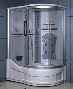 dd the amazing look of the shower enclosure to your home. The Right Corner Shower Enclosure w/ Bathtub, Radio, & 5 Massage Jets offers a unique design, flawless function and exceptional value.