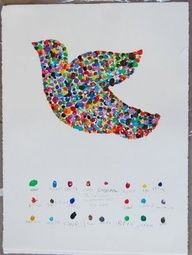 Fingerprint Peace Dove - Identify each child by color By the Beverly Cleary School Class ART Projects Auction 2009 Class Auction Projects, Auction Ideas, Preschool Auction Projects, Collaborative Art Projects For Kids, Family Art Projects, Group Projects, School Projects, Arte Elemental, Classe D'art