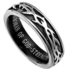 Women of God Crown of Thorns Black & Silver Ring Size 9