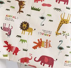 A Yard of Red Zoo Story on Oxford, U3043 on Etsy, $15.50