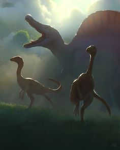Ambush, by Aric Salyer Prehistoric Wildlife, Prehistoric Dinosaurs, Dinosaur Fossils, Prehistoric Creatures, Jurassic World Poster, Jurassic Park World, Dinosaur Drawing, Dinosaur Art, Dinosaur Crafts