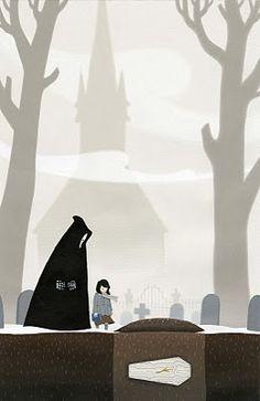 Erik B. Krenz Illustrates Kids With Monstrous Pals And Our Friend The Grim Reaper [Art] - ComicsAlliance George Rr Martin, Grim Reaper Art, Markus Zusak, Little Library, Fanart, Fairytale Art, Art Base, The Grim, Historical Fiction
