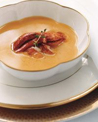 Pumpkin Soup with Creole Lobster | This version of creamy pumpkin soup ...