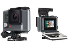 GoPro Hero  LCD.  Bridging the gap between the entry-level Hero & the higher-end Hero4 Silver, GoPro has just released the Hero+LCD. It features a built-in touchscreen and shoots 1080p 60fps like the Silver but with a burst rate of 5FPS and it shoots 8MP stills. It also offers wi-fi & bluetooth, which the entry level Hero does not.  $300