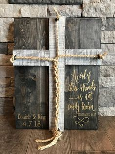 A Cord Of Three Strands Sign, A Cord of 3 Strands, Ecclesiastes Wedding Ceremony Sign, Unity Ceremony Sign, Rustic Wedding Gift - waff life photos and shared Wedding Ceremony Signs, Unity Ceremony, Our Wedding, Dream Wedding, Wedding Unity Ideas, Wedding Venues, Godly Wedding, Wedding Jobs, Wedding Aisles