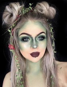 Halloween Scary But Fairly Halloween Make-up Appears You Want ; Halloween Make-up; Halloween Make-up Fairy Make-up, Green Fairy, Cute Halloween Makeup, Halloween Makeup Looks, Scary Halloween, Scream Halloween, Halloween Halloween, Rabbit Halloween, Fairy Halloween Costumes
