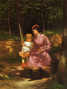 John George Brown I love how the young girl swings along side the infant with a protective gaze; I wonder if she is the sister or a nanny?