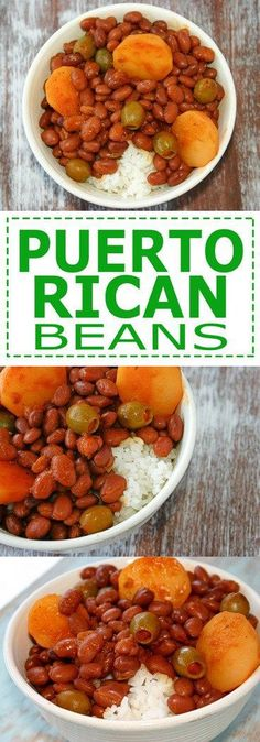 Puerto Rican Rice and Beans Habichuelas Guisadas with sofrito recipe Kitchen Gidget Mexican Food Recipes, Vegetarian Recipes, Cooking Recipes, Healthy Recipes, Ethnic Recipes, Cooking Food, Comida Boricua, Boricua Recipes, Vegetarian