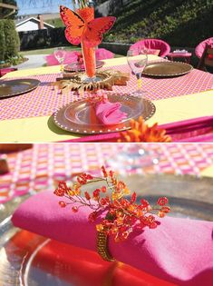 this is so sweet with the butterfly centerpiece and awesome napkin holders with hot pink