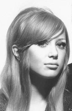Pattie Boyd Harrison. Love the side-swept bangs!