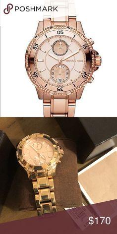 0f6619c442b1 MK Rose Gold tone chronograph watch Michael Kors rose gold tone chronograph  watch with crystals Michael